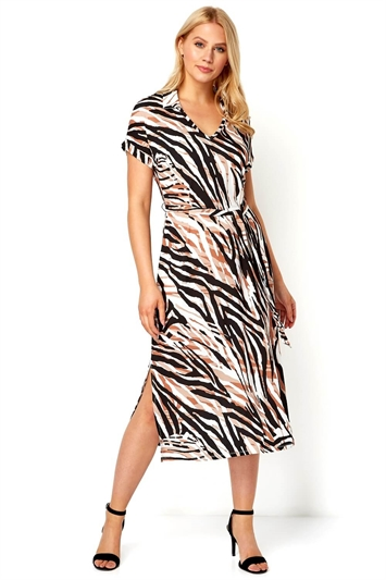 Animal Print Collar Midi Dress