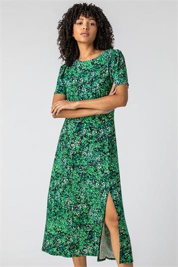 Green Floral Print Side Split Dress