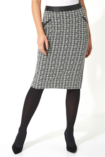 Houndstooth Faux Leather Pencil Skirt