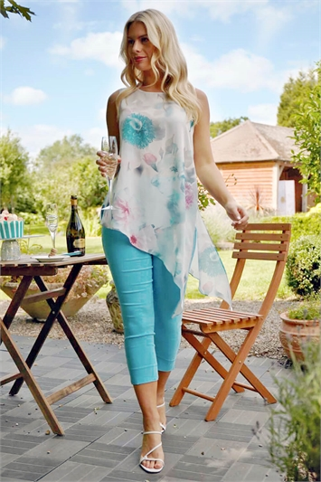 Floral Print Asymmetric Tunic Top