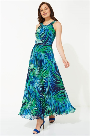 Palm Print Pleated Maxi Dress