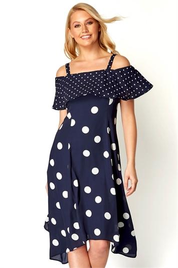 Polka Dot Cold Shoulder Dress