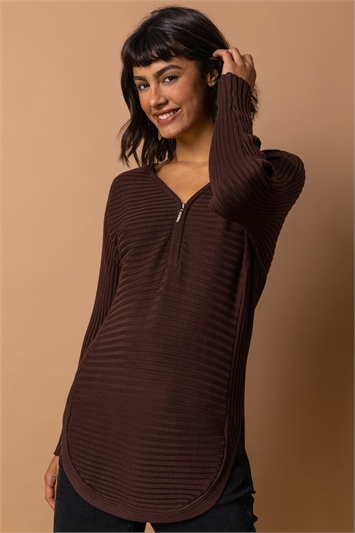 Chocolate Zip Front Textured Top, Image 1 of 4
