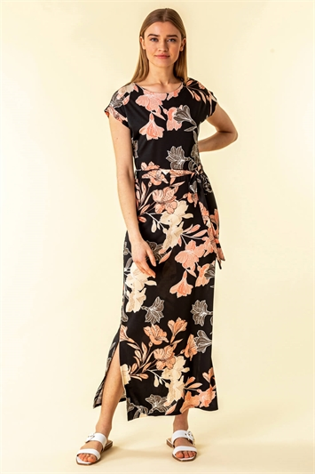 Belted Floral Maxi Dress