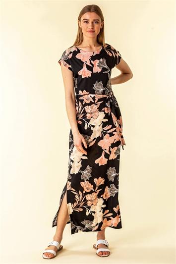 Black Belted Floral Maxi Dress