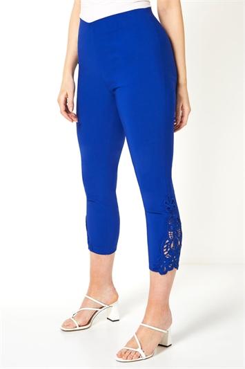 Lace Insert Crop Stretch Trousers