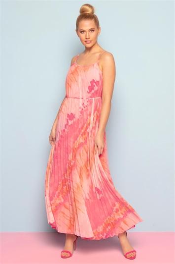 Pleated Tie Dye Effect Maxi Dress