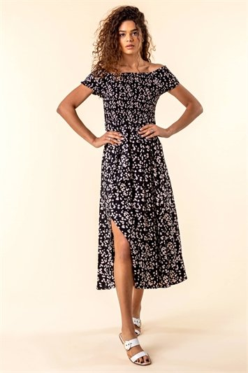 Shirred Floral Print Bardot Dress