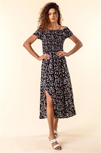 Shirred Floral Print Bardot Dress