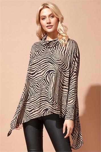 Zebra Cowl Neck Hanky Hem Top