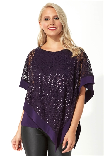 Sequin Embellished Overlay Top