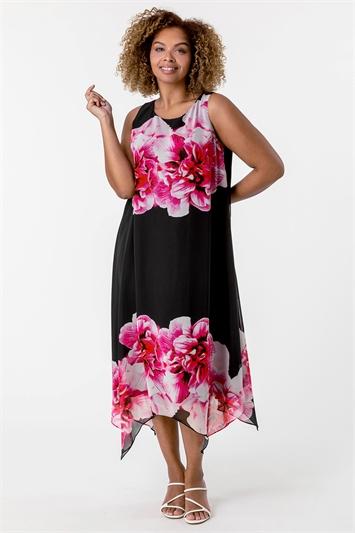 Pink Curve Floral Asymmetric Chiffon Dress