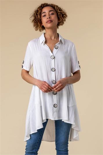 Ivory Asymmetric Button Detail Pocket Shirt