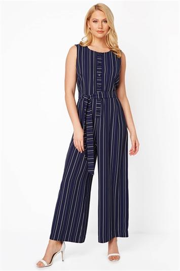 Stripe Button Front Jumpsuit