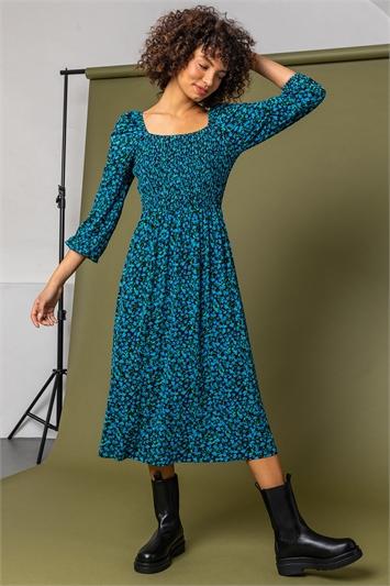 Blue Shirred Floral Print Midi Dress