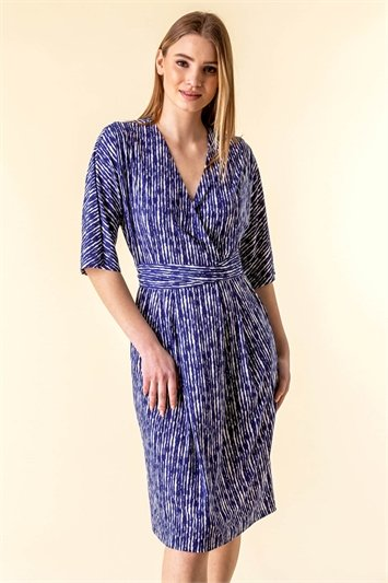 Abstract Stripe Print Wrap Dress