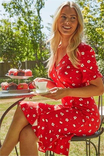 Floral Side Button Tea Dress