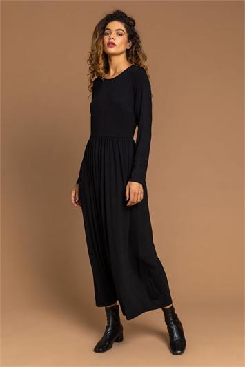 Black Long Sleeve Jersey Maxi Dress, Image 1 of 4