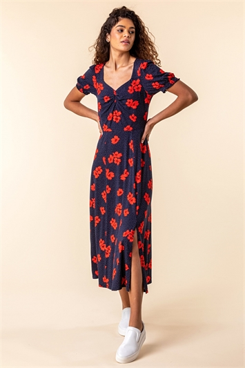 Floral Print Ruched Maxi Dress