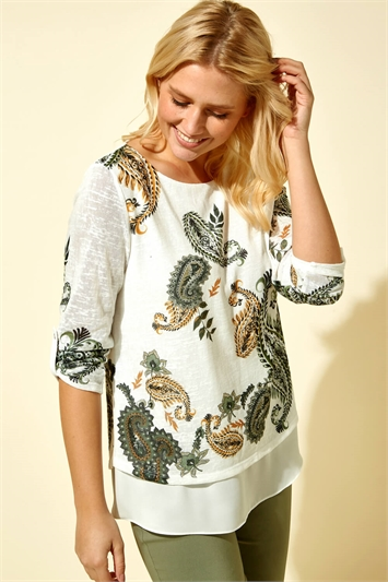 Paisley Print Double Layer Top