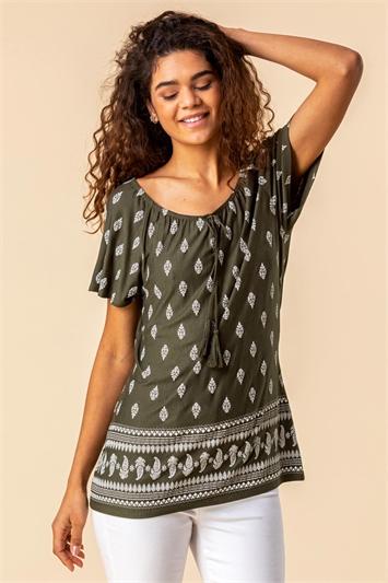 Khaki Paisley Print Short Sleeve Top