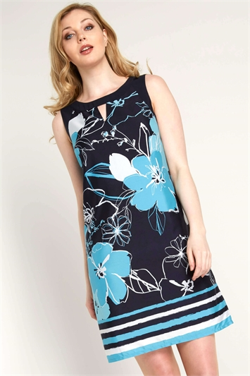 Floral Printed Keyhole Neck Dress