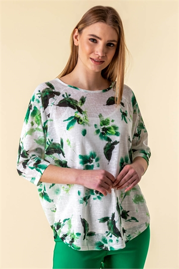 Floral Curved Hem Top