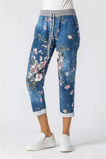 Denim Floral Print Roll Hem Pants