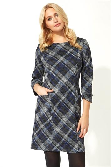 Royal Blue Check Print 3/4 Sleeve Shift Dress