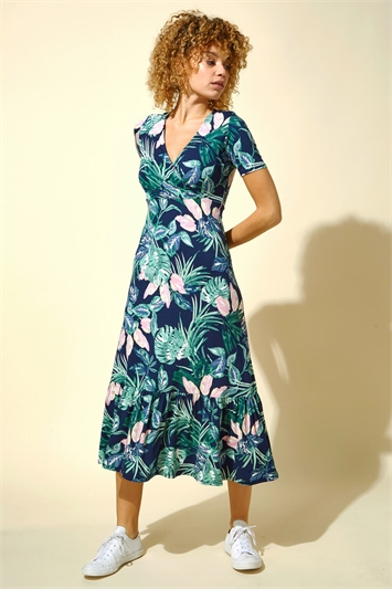 Tropical Floral Print Midi Dress