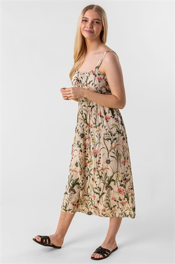 Floral Print Button Down Sun Dress