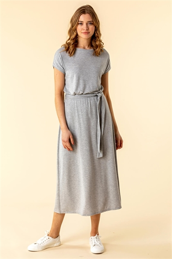 Belted Jersey Midi T-Shirt Dress