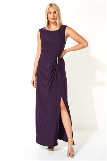 Ruched Metal Bar Trim Maxi Dress