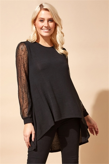 Lace Sleeve Dip Hem Top