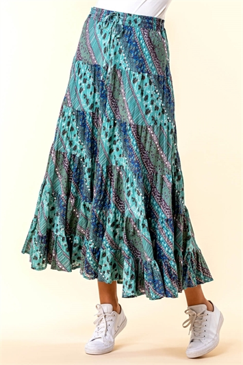 Turquoise Paisley Print Sequin Embellished Skirt