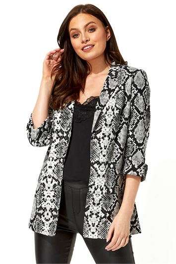 Snake Print 3/4 Sleeve Jacket