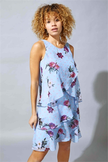Floral Spot Chiffon Layer Dress