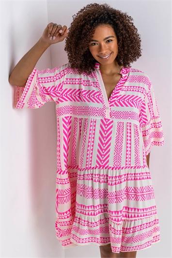 Pink Aztec Print Tiered Beach Dress