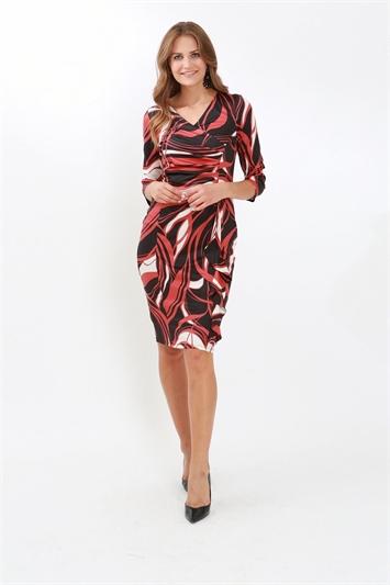 Julianna Swirl Print 3/4 Sleeve Ruched Dress