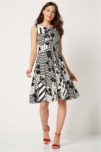 Monochrome Print Fit and Flare Dress