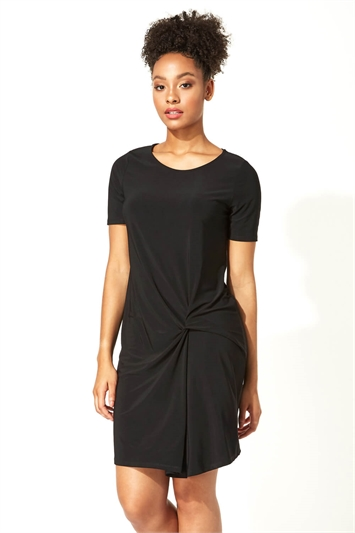 Black Side Twist Shift Dress