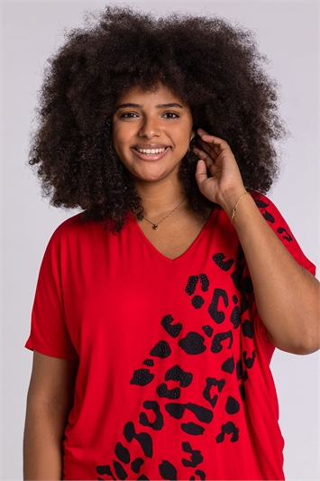 Red Curve Embellished Animal Print T-Shirt