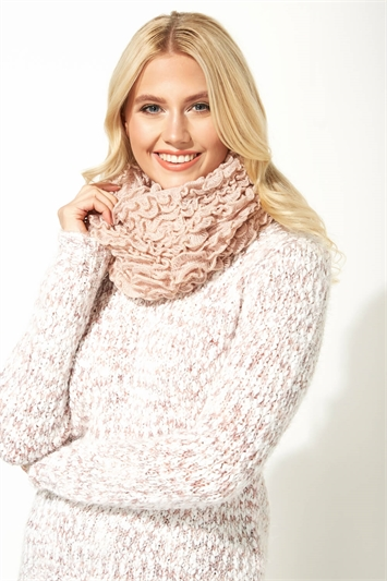 Ruffle Detail Snood Scarf
