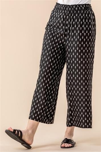 Black Paisley Print Culotte Trousers