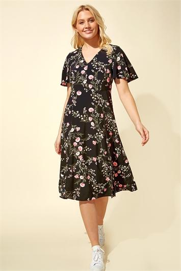 Floral Print Midi Tea Dress