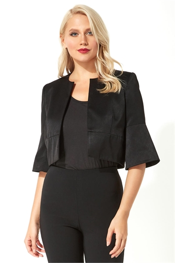 Cropped Flute Sleeve Satin Jacket