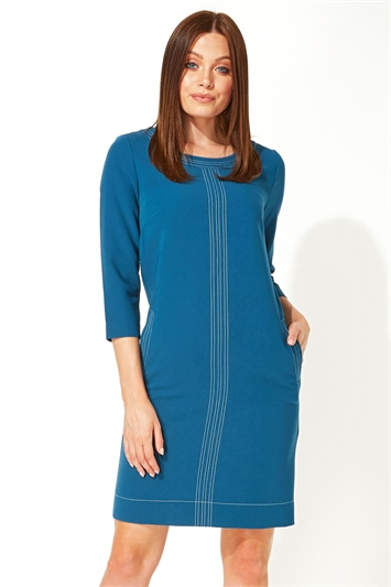 3/4 Sleeve Top Stitch Shift Dress