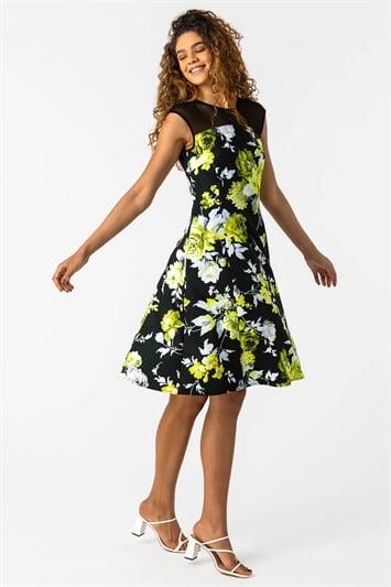 Lemon Floral Print Fit and Flare Dress