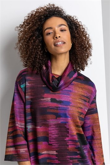 Purple Abstract Print Cowl Neck Dress, Image 1 of 4