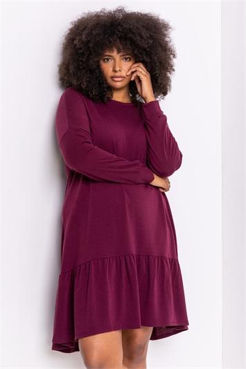 Bordeaux Curve Frill Hem Long Sleeve Dress